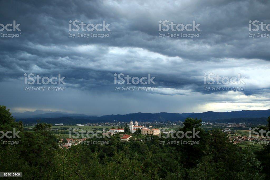 Church and monastery on the hill Miren (Mirenski grad) near Nova Gorica, Slovenia stock photo