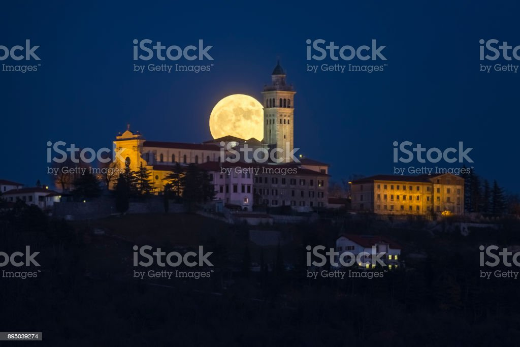 Church and Moon stock photo