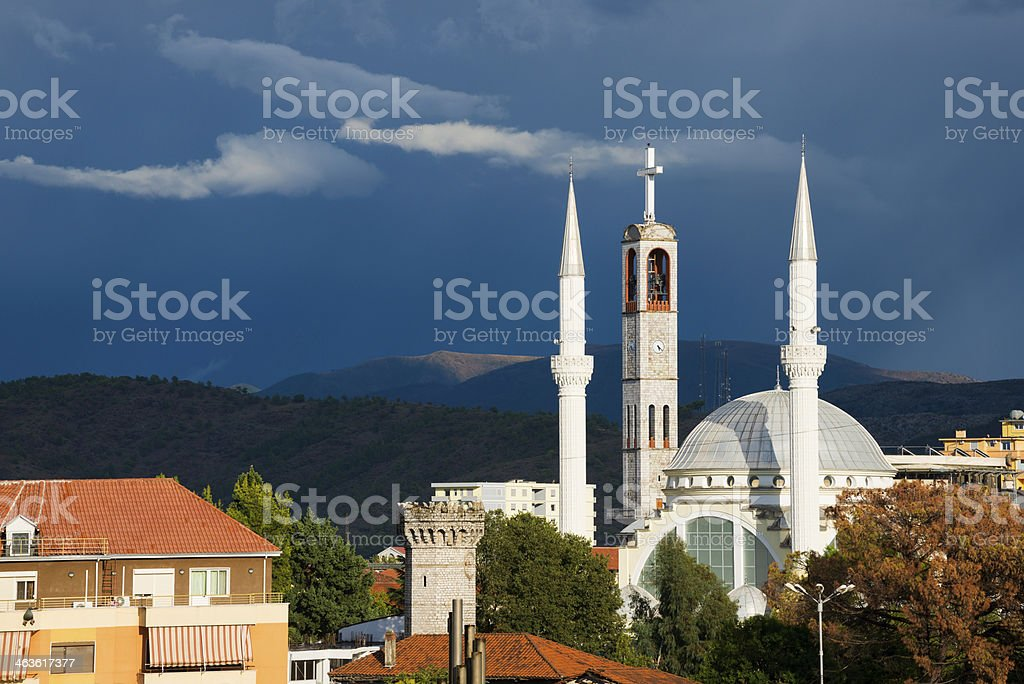 Church and mosque in Shkodër, Albania stock photo
