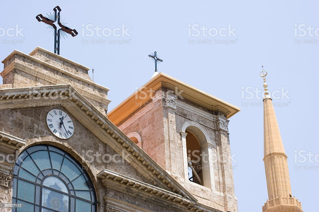 Church and mosque royalty-free stock photo