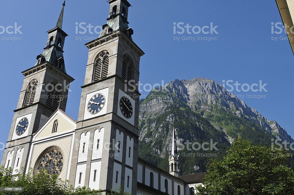 Church and Mountain stock photo
