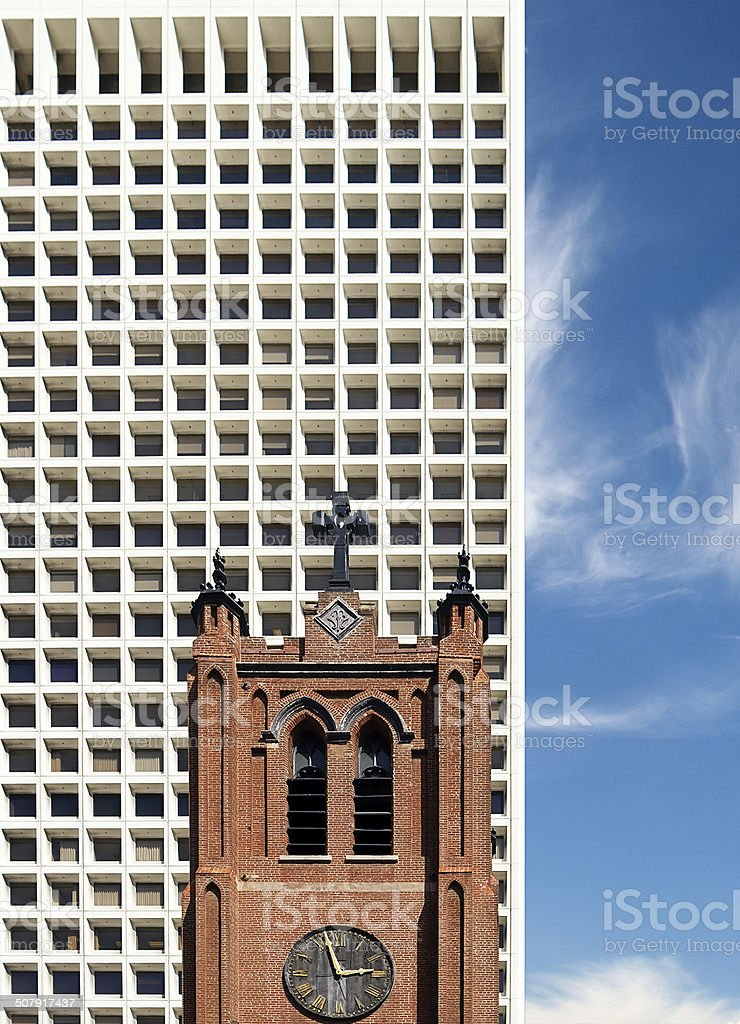 Church and Office Building in San Francisco stock photo