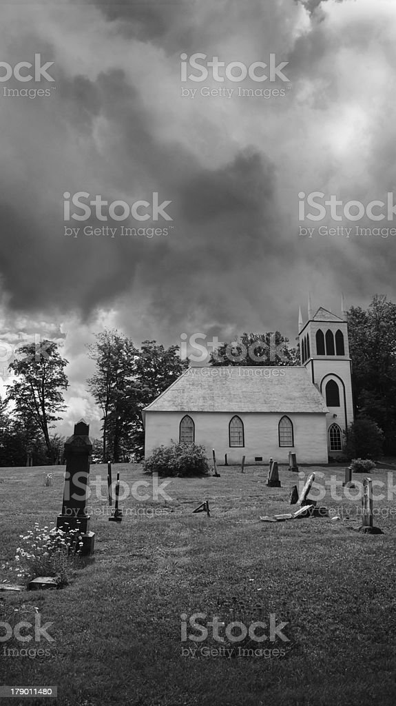 Church and old cemetery royalty-free stock photo