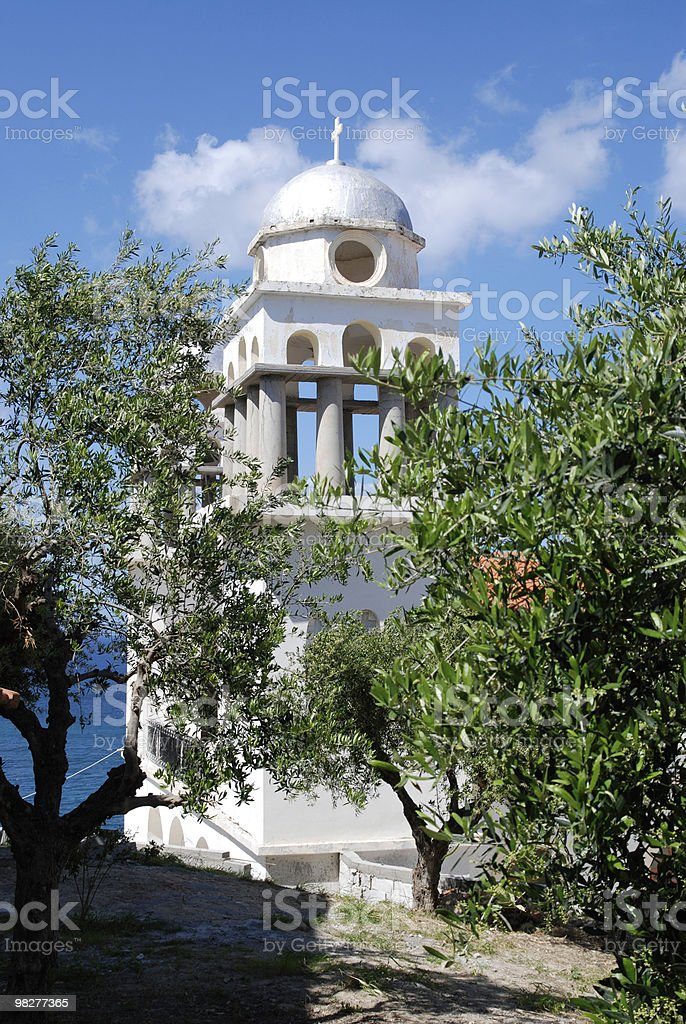 church and olive trees royalty-free stock photo