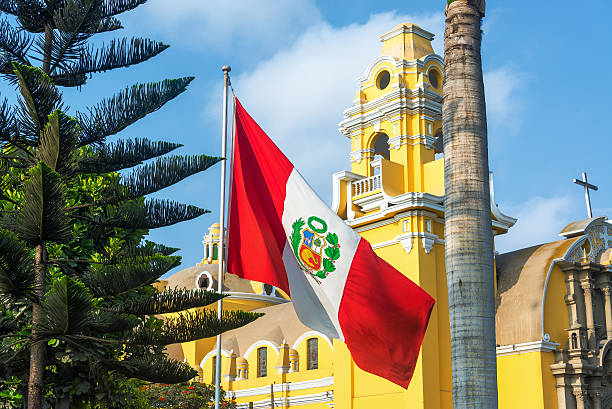 Church and Peruvian Flag stock photo