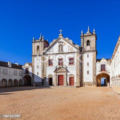 Church and Pilgrim lodgings of Santuario de Nossa Senhora do Cabo Sanctuary. Cabo Espichel Cape. Baroque architecture. Sesimbra, Portugal