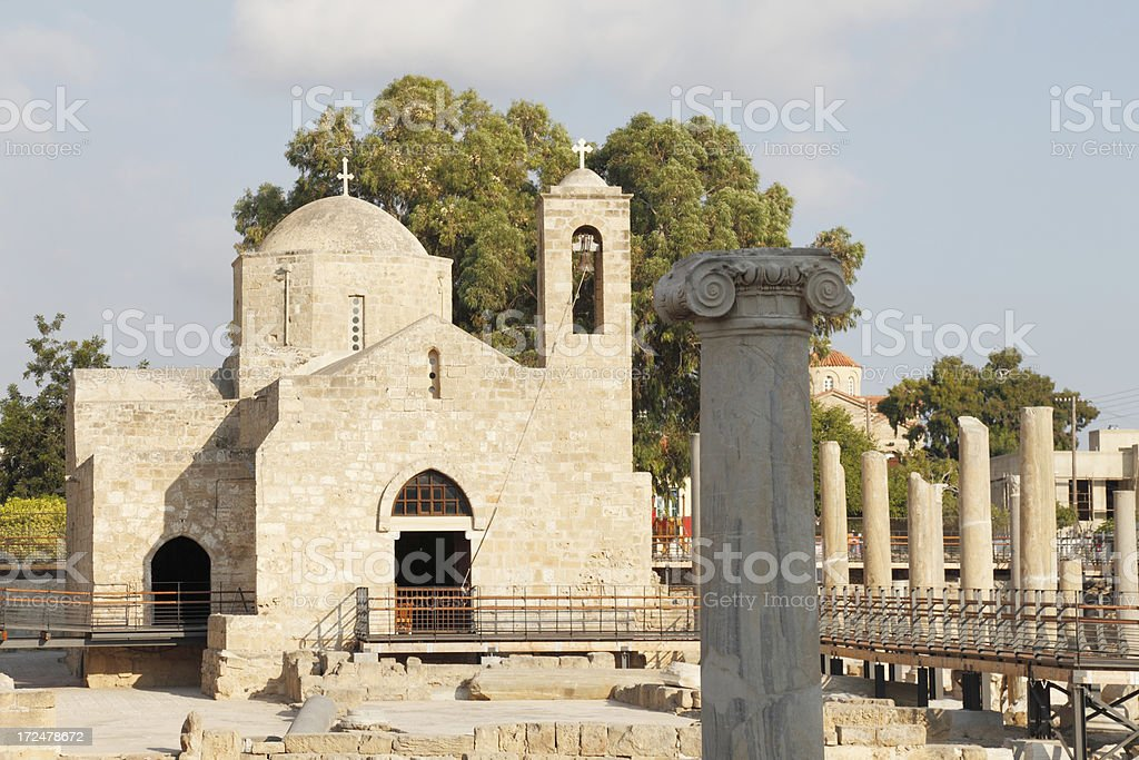 church and  roman ancient ruins at Paphos archaeological site Cyprus royalty-free stock photo