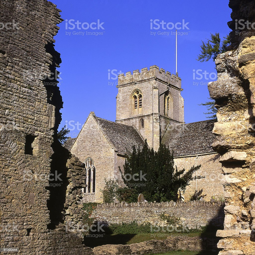 Church and ruins at Minster Lovell in Oxfordshire. England stock photo