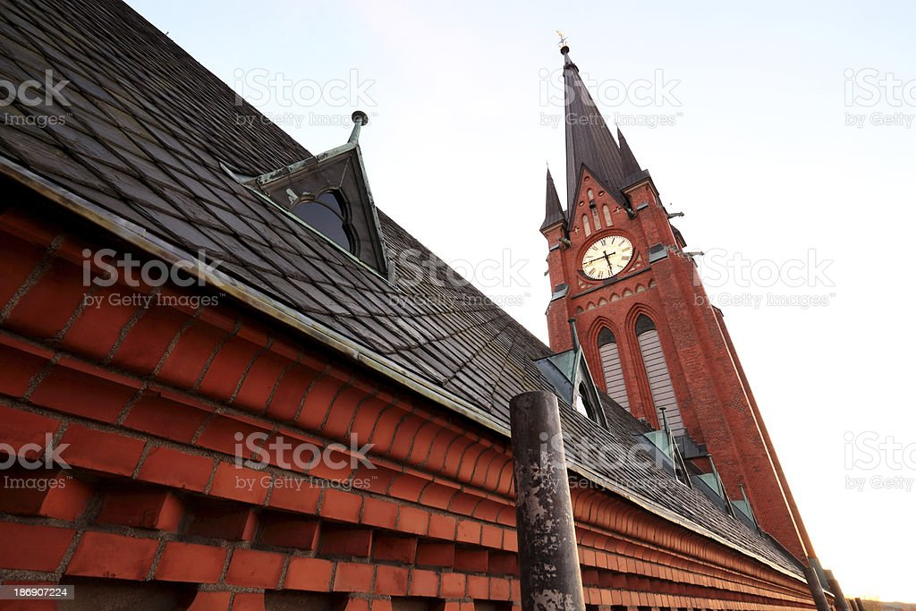 church and scaffold side view stock photo