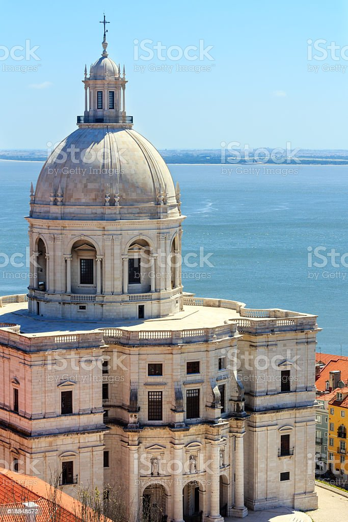 Church and sea view  from roof. Lisbon, Portugal. stock photo