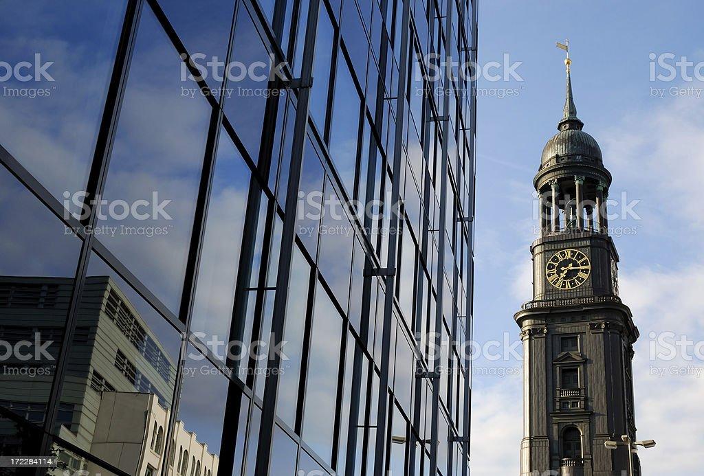 church and skyscraper stock photo