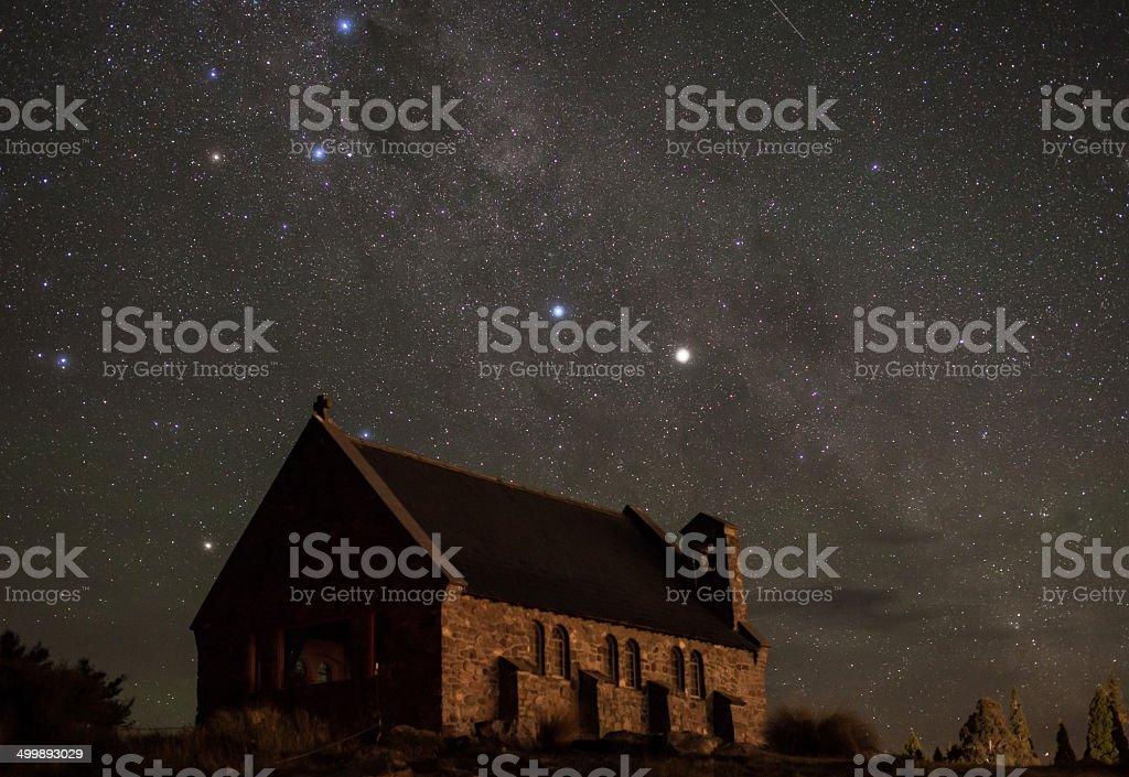 Church and Stars stock photo