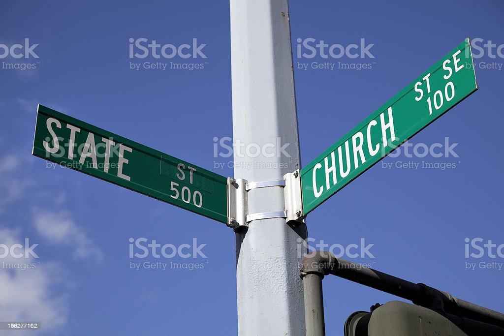 Church and State Road sign stock photo