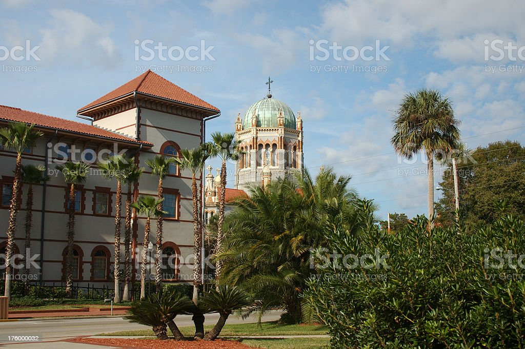 Church and terracotta building royalty-free stock photo