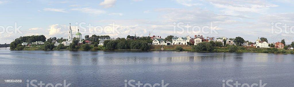 Church and Volga River in Russia stock photo