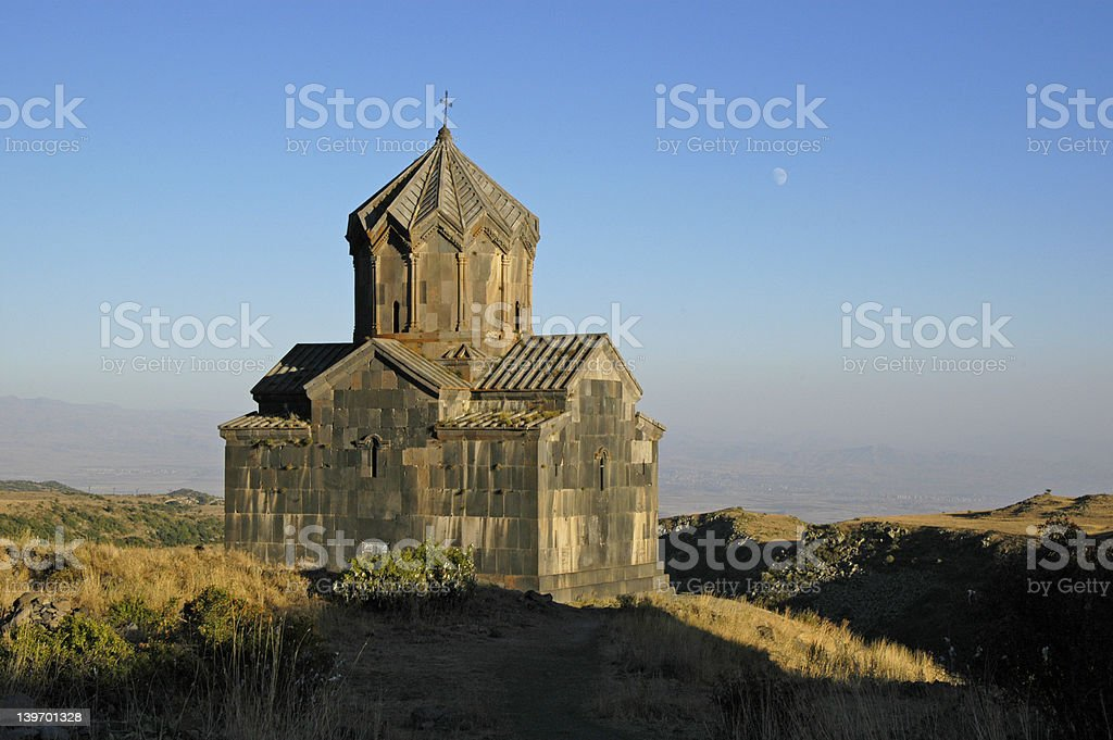 Church Armenia with moon royalty-free stock photo