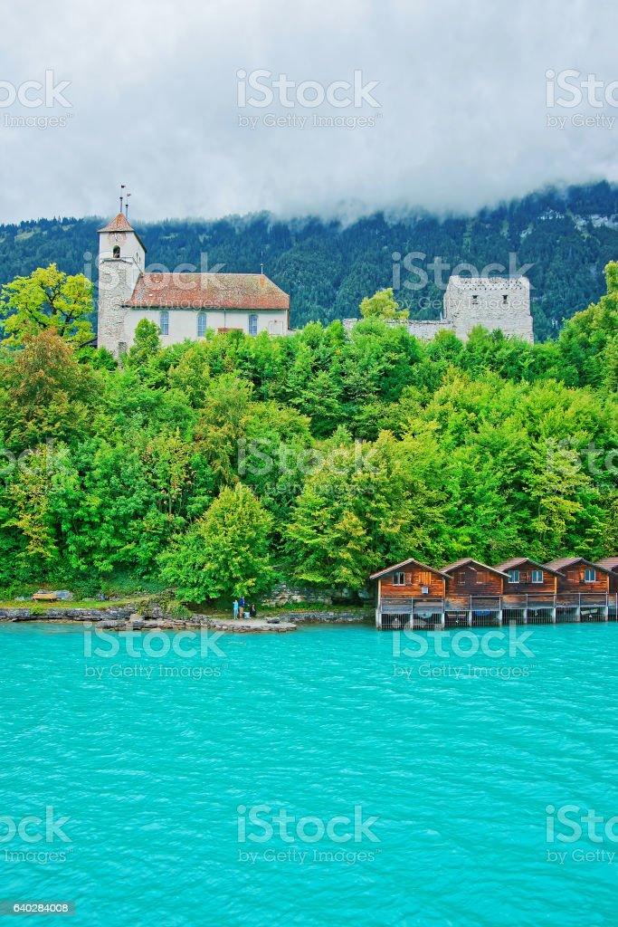 Church at Brienz Lake and Brienzer Rothorn mountain Bern Switzerland stock photo