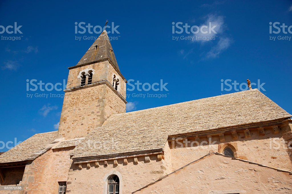 Church at Milly Lamartine, Macon, France stock photo