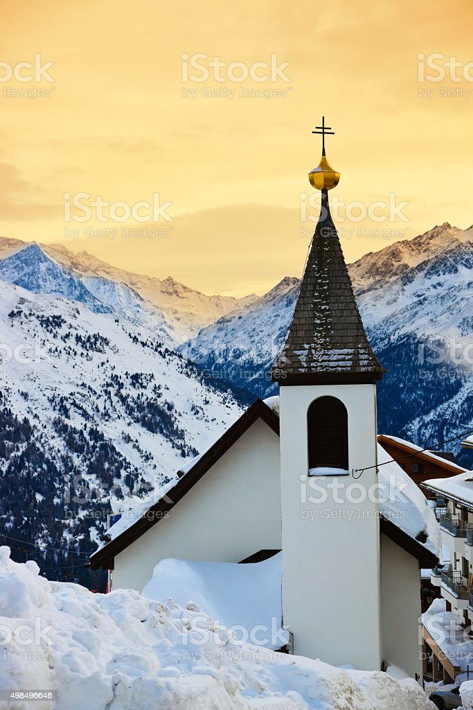 Church at mountains ski resort Solden Austria stock photo