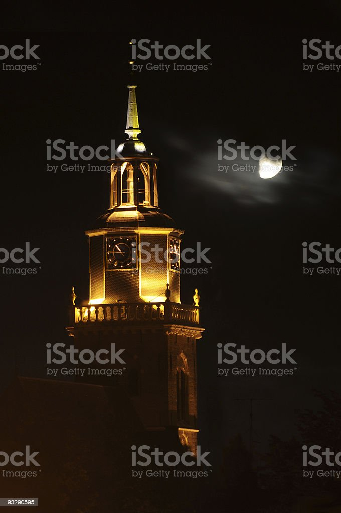 church at night in moonlight, joure,the netherlands stock photo