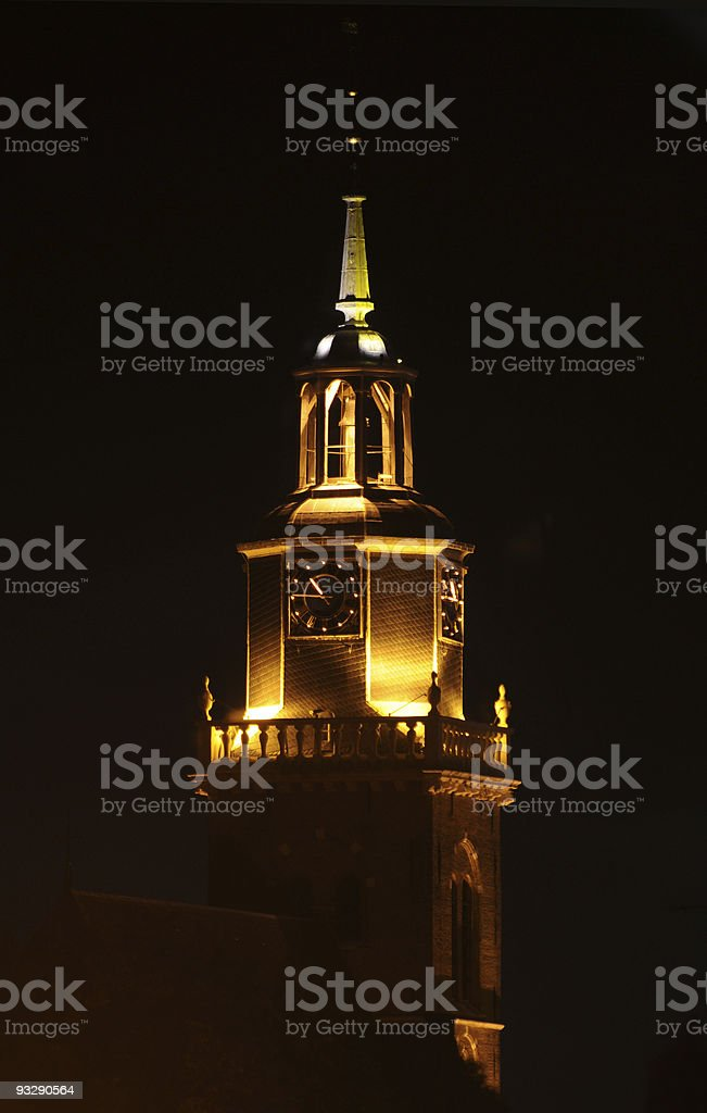 Church at night, Joure, Friesland, the Netherlands stock photo