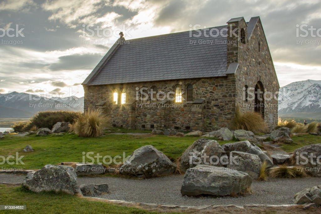 Church at sunrise stock photo