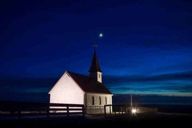 Kirche bei Sonnenuntergang, Island – Foto