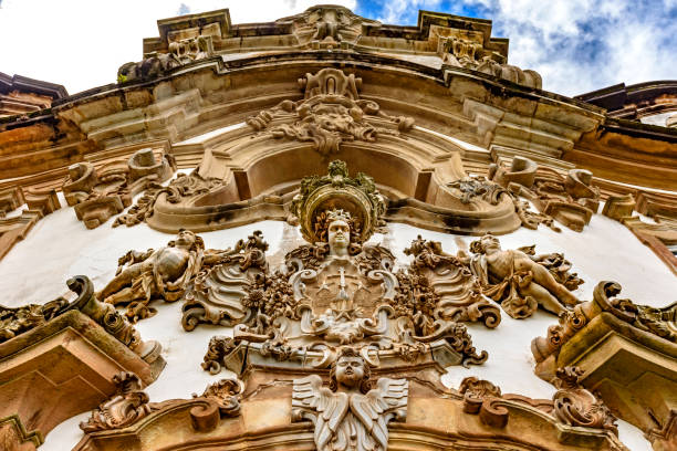 Church baroque style sculptures and ornaments stock photo