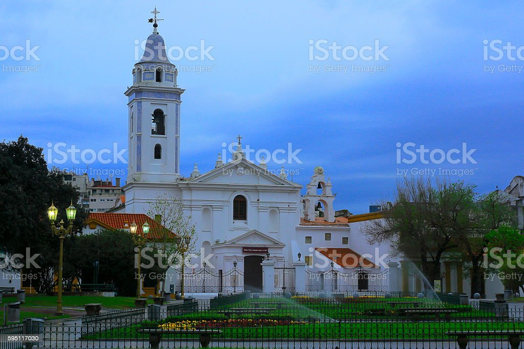 Church Basilica de Nuestra Senora Del Pilar evening, Recoleta Cemetery stock photo