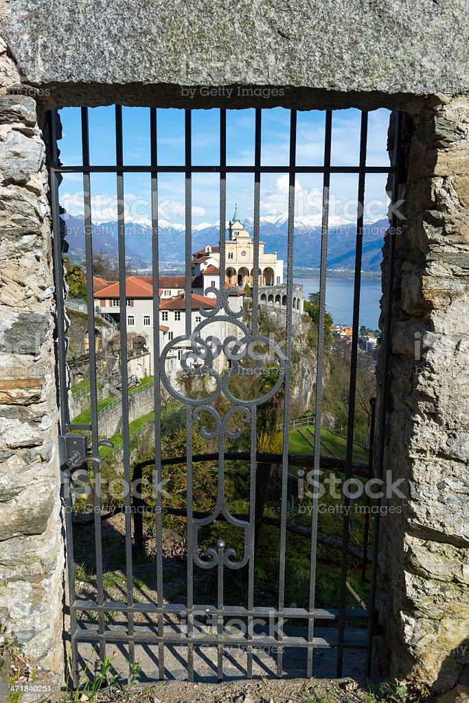 Church behind a gate stock photo