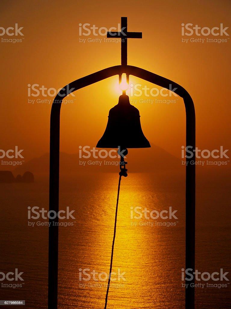Church Bell in Sunset, Milos, Greece stock photo