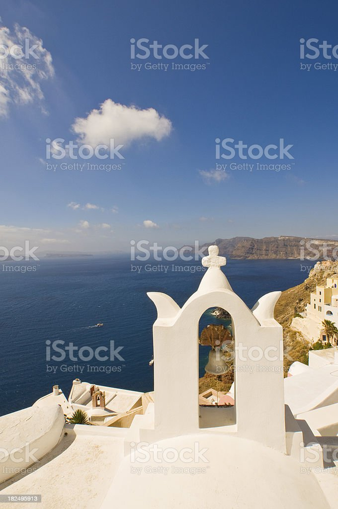 church bell tower and white cross royalty-free stock photo