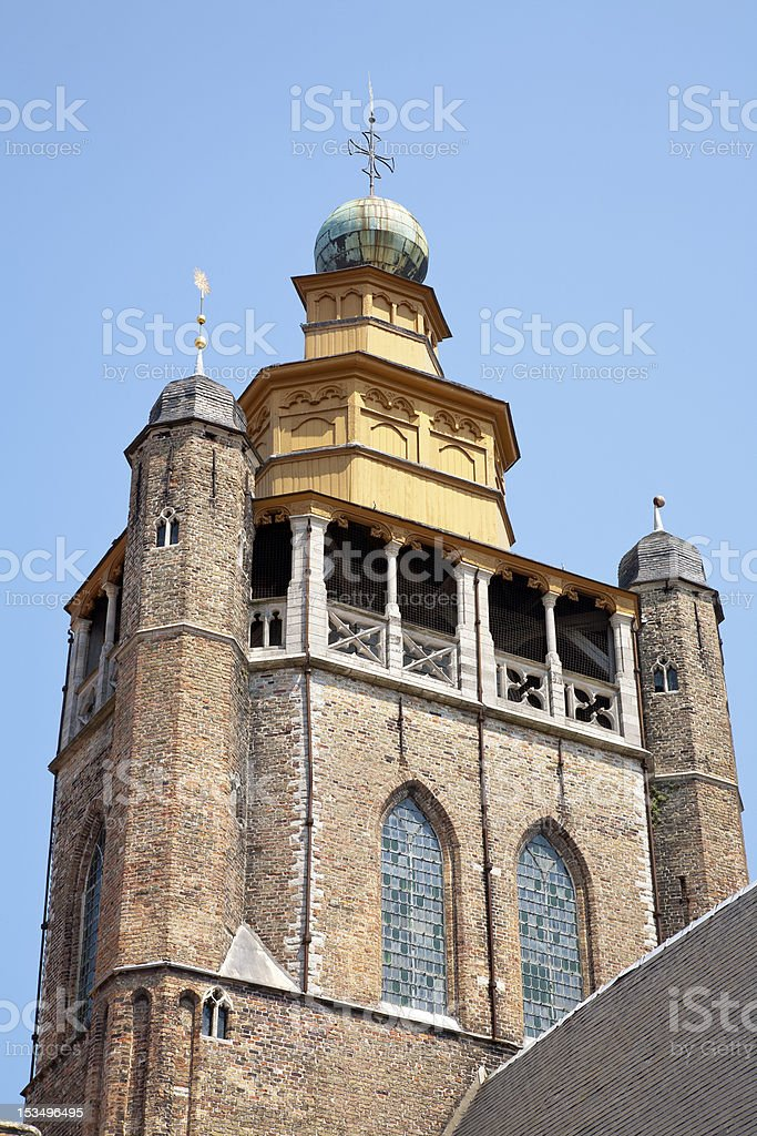 Church Bell Tower in Bruges, Belgium. stock photo