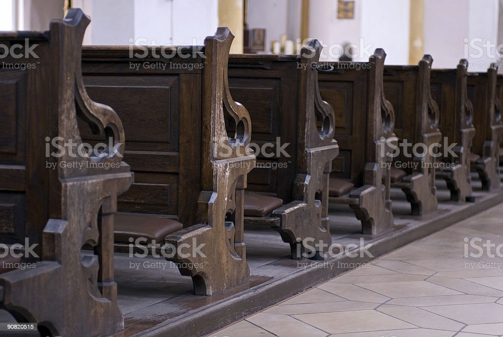 Church bench stock photo