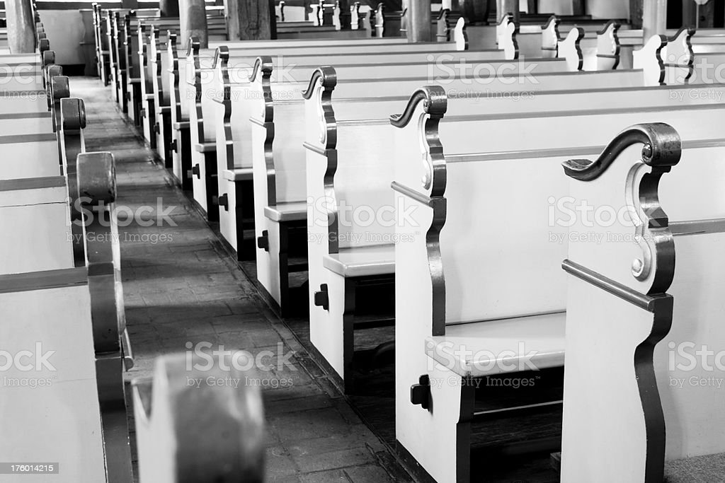 Church benches - black and white royalty-free stock photo