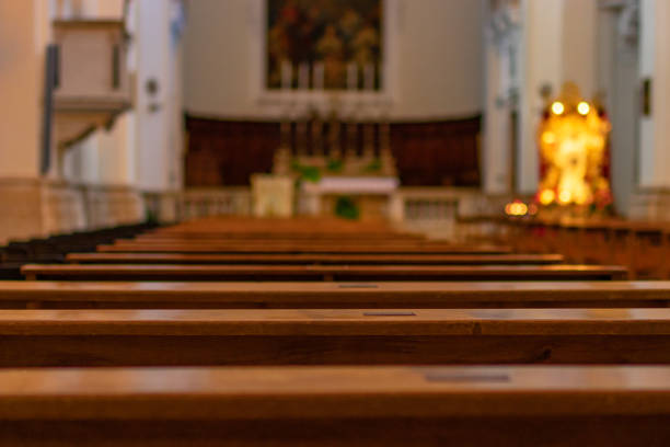 Church benches in the empty Catholic Church. Italy Church benches in the Catholic Church. Italy catholicism stock pictures, royalty-free photos & images