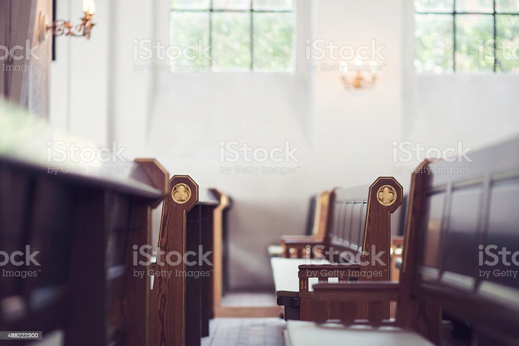 Church benches royalty-free stock photo