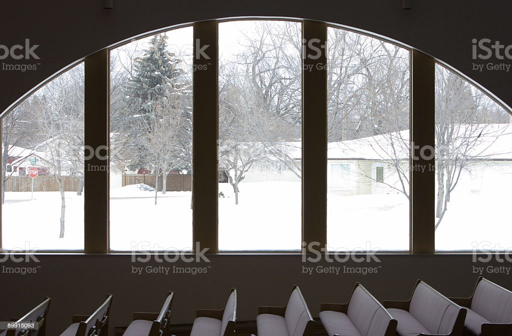 Church benches & window royalty-free stock photo