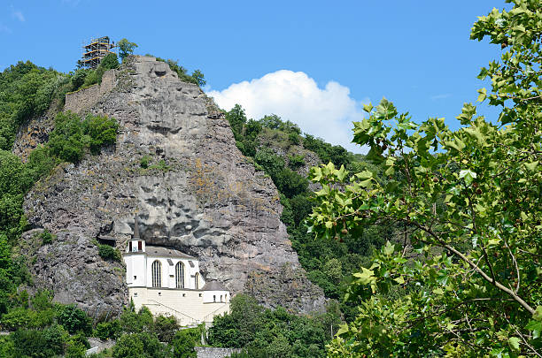 Church built into rock face at the city of Idar-Oberstein stock photo