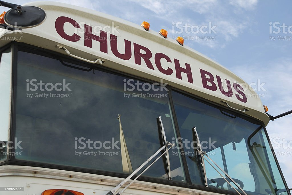 Church bus sign stock photo