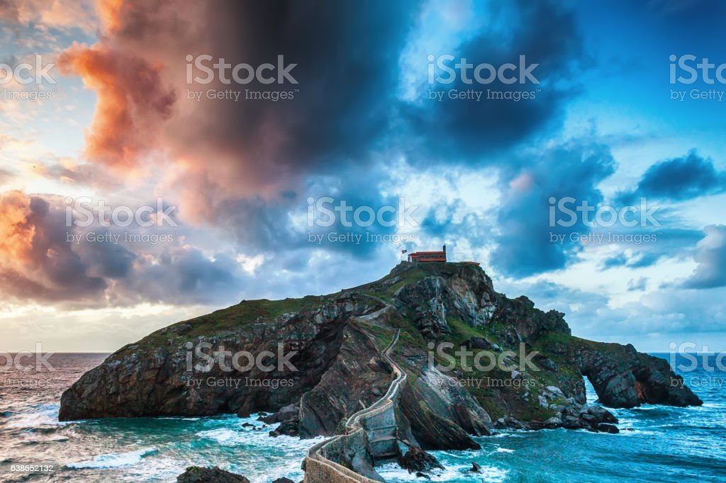 Church by the ocean stock photo