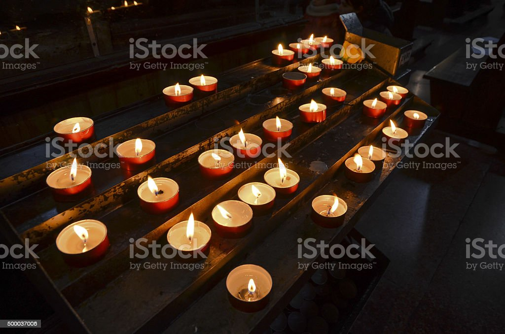 church candle lights stock photo
