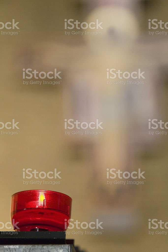 Church candle with cross in background royalty-free stock photo