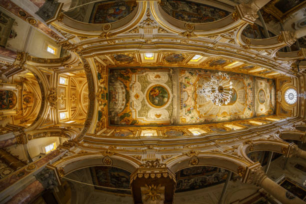 Church ceiling in Matera stock photo