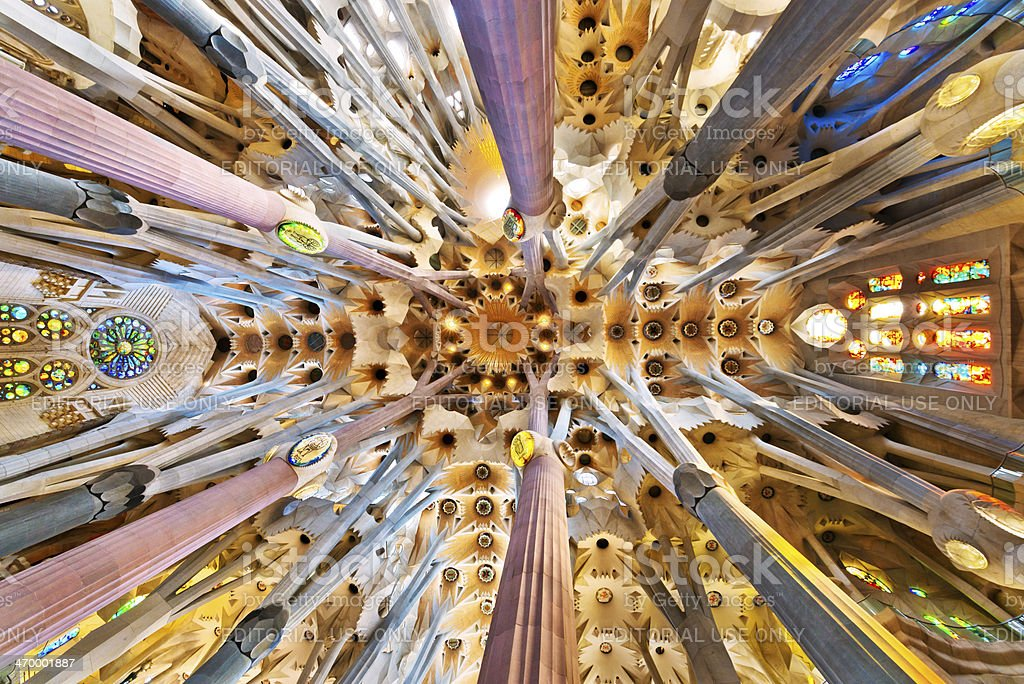 church ceiling, Sagrada Familia Cathedral in Barcelona stock photo