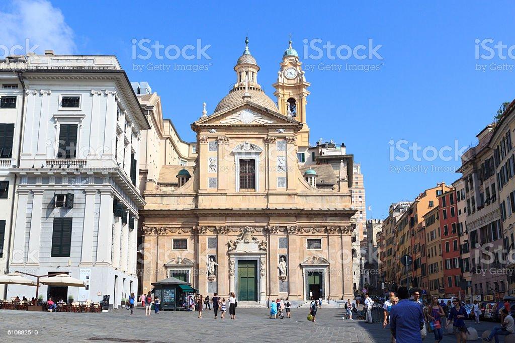 Church Chiesa del Gesu in Genoa, Italy stock photo