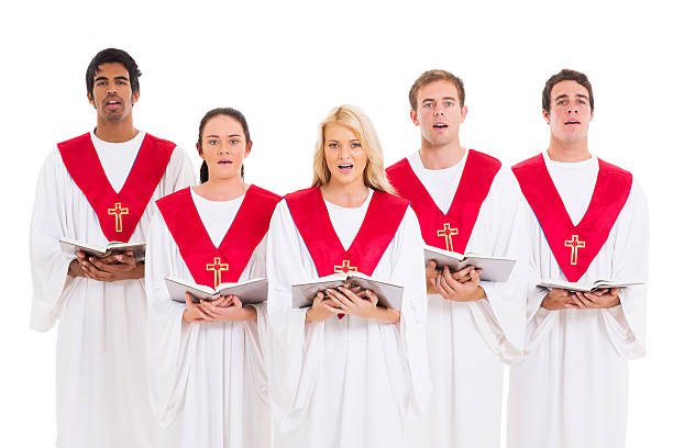 church choir singing stock photo