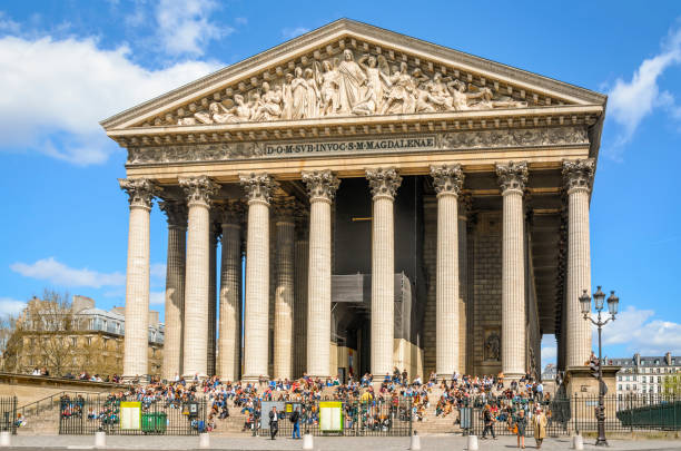 Church Eglise de la Madeleine in Paris stock photo