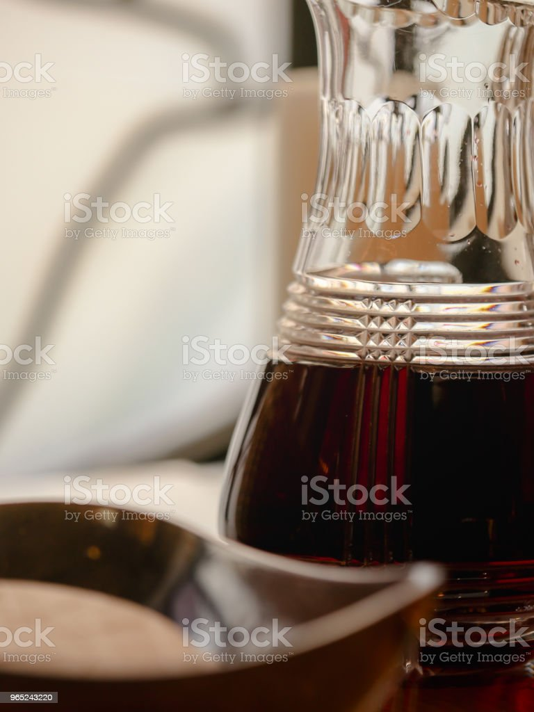 Church Communion Red Wine in Glass and Bread Background Copy Space royalty-free stock photo