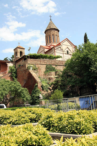 church complex in tbilisi - palisade boundary stock photos and pictures